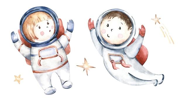 Astronauta chłopiec dziewczynka skafander kosmonauta gwiazdy na białym tle akwarela spaceman kreskówka dzieciak