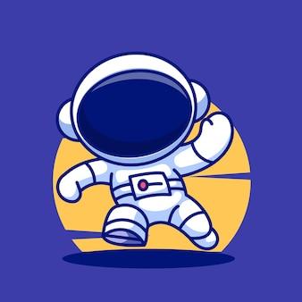 Astronauta chłopiec kreskówka wektor ikona ilustracja