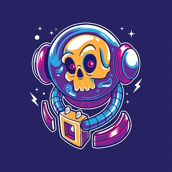 Astronauta czaszka w kosmosie