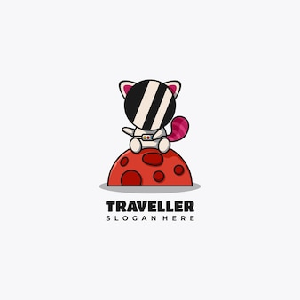 Astronauta, czerwona panda, maskotka, logo, projektować, wektor, ilustracja