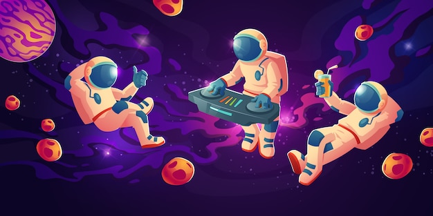 Astronauta dj z gramofonem w otwartej przestrzeni