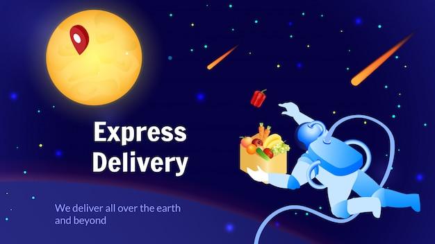 Astronauta dostarcza usługę food global shipping.