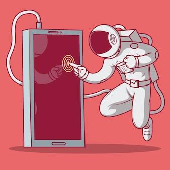 Astronauta dotyka ilustracji telefonu na ekranie. technologia, wyobraźnia, reklama, gry online, łączenie, koncepcja projektu wszechświata