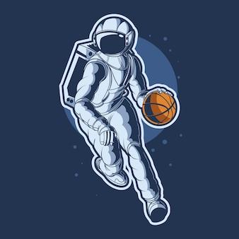 Astronauta dryblujący projekt ilustracji piłkę do koszykówki