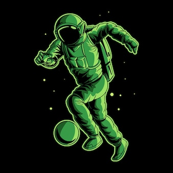Astronauta drybluje piłkę w przestrzeni
