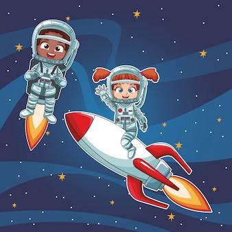 Astronauta dzieci kreskówki