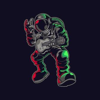 Astronauta eksplorujący kosmos grający muzykę