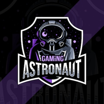 Astronauta gier maskotka logo szablon projektu e-sport