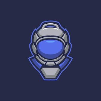 Astronauta głowa ilustracja kreskówka logo szablon. esport logo gaming premium wektor głowa kreskówka logo szablon ilustracja. gry z logo e-sportu premium wektor