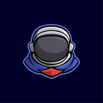 Astronauta głowa kreskówka logo szablon ilustracja esport logo gaming premium vector