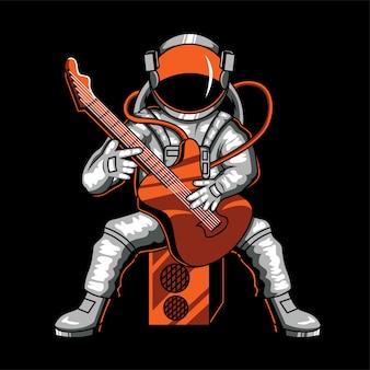 Astronauta gra na gitarze