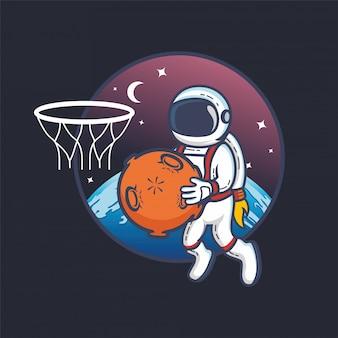 Astronauta gra w koszykówkę z planety piłkę w kosmosie