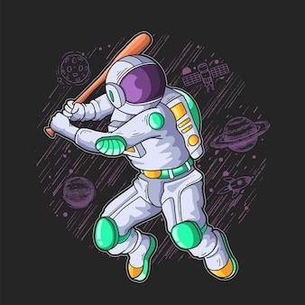 Astronauta gra w piłkę bazową na ilustracji galaktyki