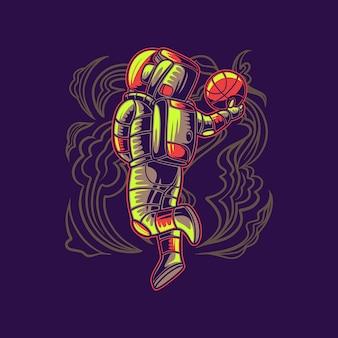 Astronauta grający w koszykówkę