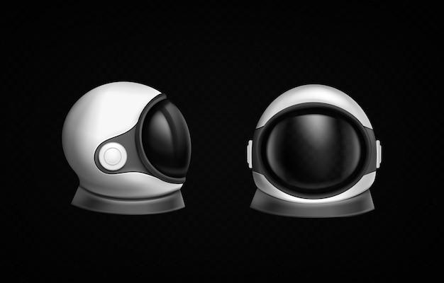 Astronauta hełm kosmonauta kombinezon kosmiczny z przodu iz boku na czarnym tle