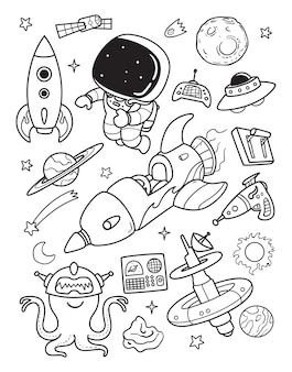 Astronauta i kosmita doodle czas do kosmosu