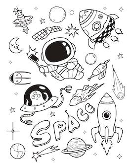 Astronauta i kosmita doodle
