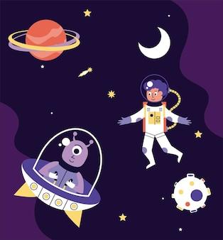 Astronauta i kosmita napędzający ilustrację sceny kosmicznej ufo