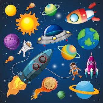 Astronauta i rakieta w kosmosie