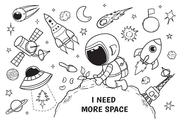 Astronauta i rośliny doodle
