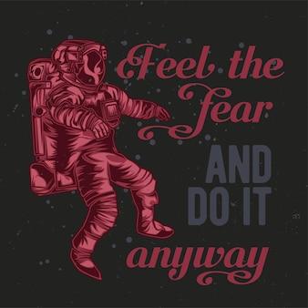 Astronauta ilustracja z napisem