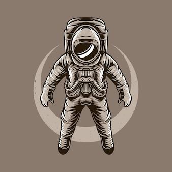 Astronauta ilustracji wektorowych latający księżyc