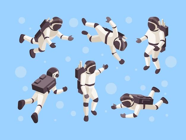 Astronauta izometryczny. kosmiczny kosmiczny futurystyczny człowiek w specjalnych ubraniach astronauta w różnych pozach