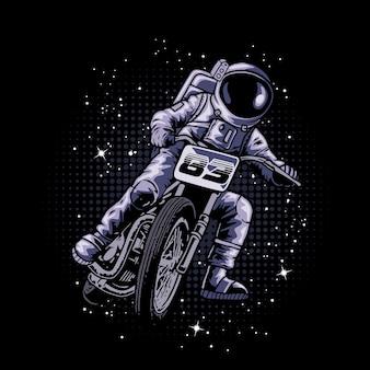 Astronauta jadący motocyklem w kosmosie