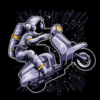 Astronauta jadący na klasycznej hulajnodze