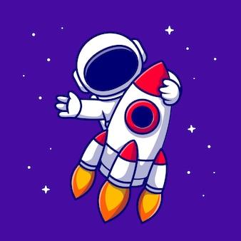 Astronauta jazda rakieta ikona ilustracja kreskówka. ikona technologii kosmicznej na białym tle. płaski styl kreskówki