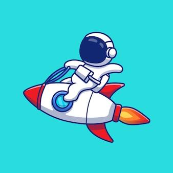 Astronauta jazda rakieta ikona ilustracja kreskówka. koncepcja ikona technologii kosmicznej na białym tle premium. płaski styl kreskówki