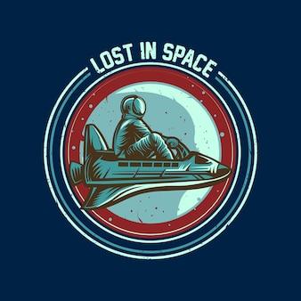 Astronauta, jazda, statek kosmiczny, godło