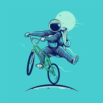 Astronauta jedzie bmx na białym tle na niebiesko