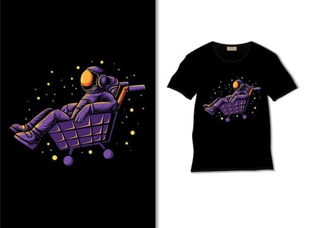 Astronauta jeździ ilustracją wózka z projektem koszulki