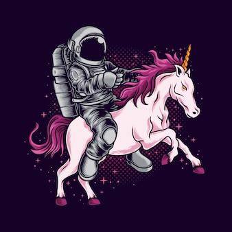 Astronauta jeździ jednorożcem
