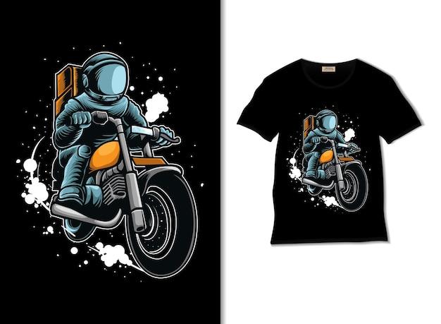 Astronauta jeździ motocyklem w kosmos z projektem koszulki