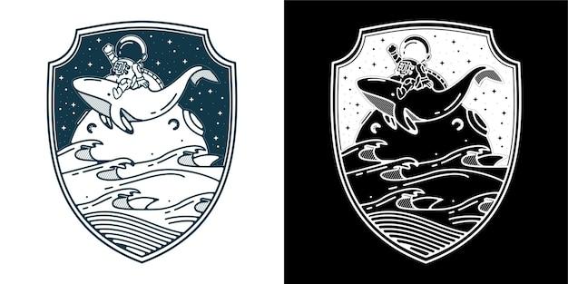 Astronauta jeździ na wielorybie