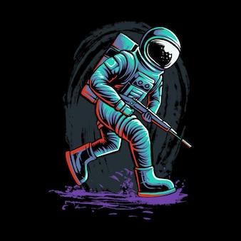 Astronauta jeździć deskorolka na czarnym tle