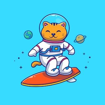 Astronauta kot surfuje na galaxy ilustraci. postać z kreskówki maskotka.