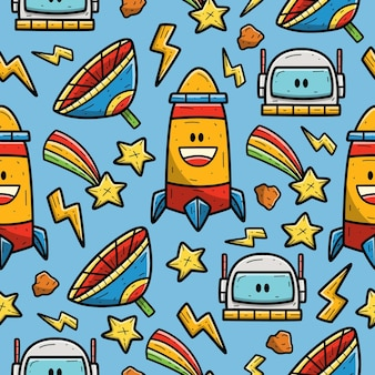 Astronauta Kreskówka Doodle Wzór Bez Szwu Premium Wektorów