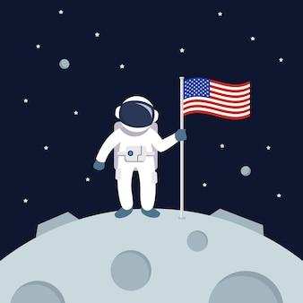 Astronauta lądujący na księżycu trzymając amerykańską flagę. gwiazda i planety na tle galaktyki. ilustracja płaski