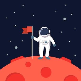 Astronauta ląduje na marsie, trzymając flagę. gwiazda i planety na tle galaktyki. ilustracja płaski