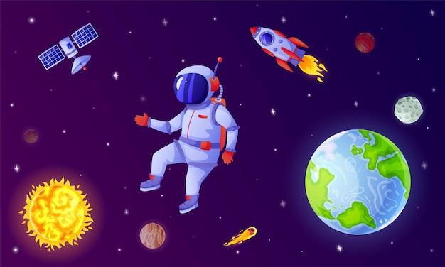 Astronauta latający w przestrzeni kosmicznej z ilustracją gwiazd rakietowych planet satelitarnych