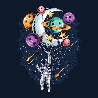 Astronauta leci w kosmos z planetami-balonami i księżycem