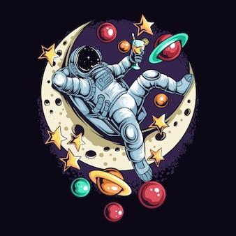 Astronauta leży zrelaksowany na półksiężycu między gwiazdami a planetami w kosmosie