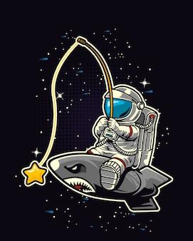Astronauta łowiący rakietę kosmiczną