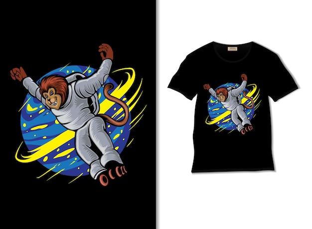 Astronauta małpa wokół kosmosu z ilustracją na rolkach z projektem koszulki