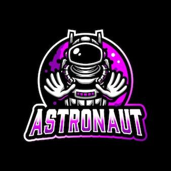 Astronauta Maskotka Logo E-sport Premium Wektorów