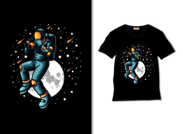 Astronauta monitoruje przestrzeń z lornetką, ilustracja z projektem koszulki