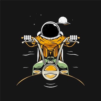 Astronauta na motocyklu ilustracja kreskówka